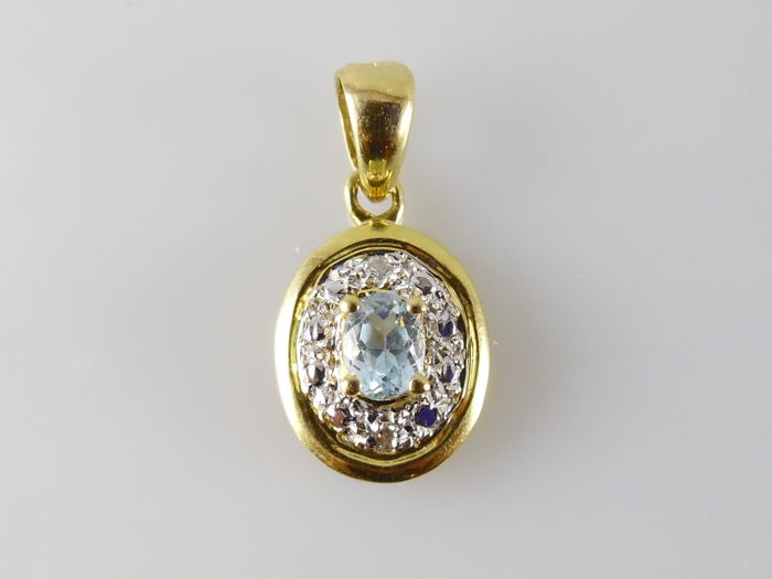 18 kt. Yellow gold - Pendant - 0.10 ct Aquamarine - Diamond