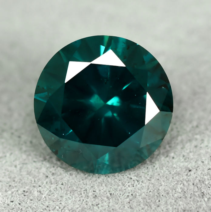 Diamond - 1.47 ct - Brilliant - Fancy Deep Bluish Green (treated) - I1