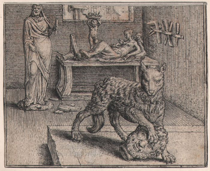 Marcus Gheeraerts (1520-1590) - Den wulf ende t' mans hooft  - Rare first edition of this etching