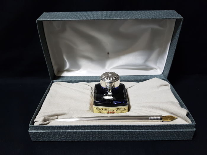 Inkwell with nib - .925 silver - Italy - 1950-1999