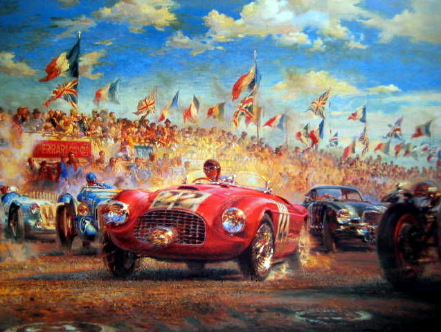 "Fine Art Print ""Triple First"" - Ferrari 166MM/Luigi Chinetti - First Win Ferrari in Le Mans 1949"