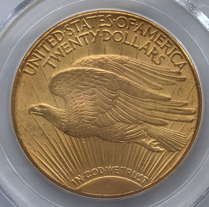 United States - 20 Dollar 1927 - St. Gaudens Double Eagle in US Plastic-Holder PCGS MS63 - Gold
