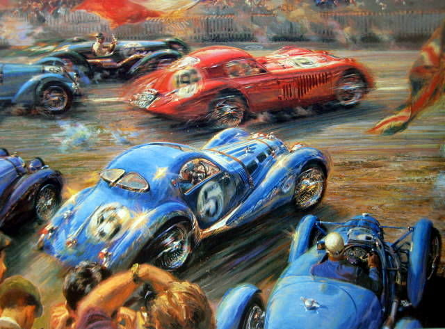 "Impression d'Art - ""Couleurs Volantes"" - Alfa Romeo, Talbot, Bugatti and Aston Martin - Start Le Mans 1938"