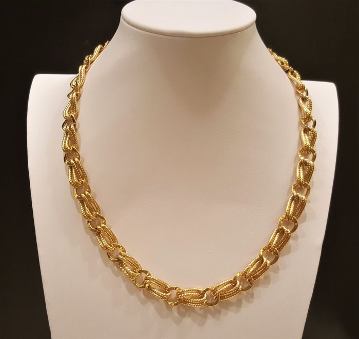 Guy Laroche 22kt Gold Plated Textured Chain Link Necklace Catawiki