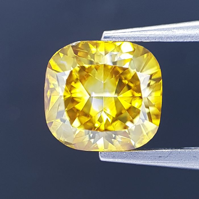 Diamant - 1.04 ct - Cushion - fancy deep brownish yellow - GIA Full Certified + Laser Inscription, SI1
