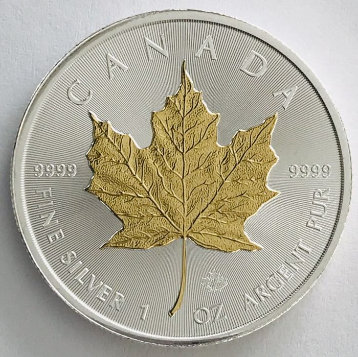 Canada - 5 Dollars 2018 - Maple Leaf - Gilded - 1 oz - Silver