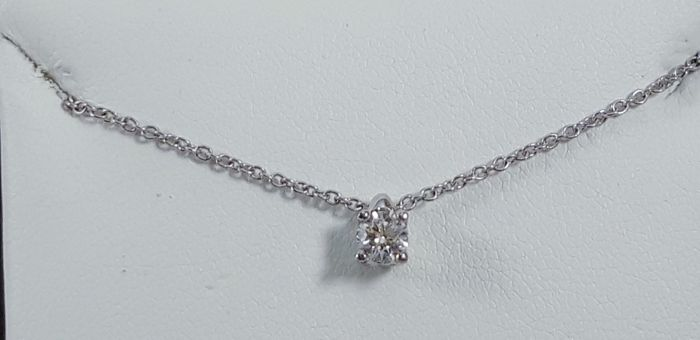 Dls - 18 kt. White gold - Necklace with pendant - 0.24 ct Diamond