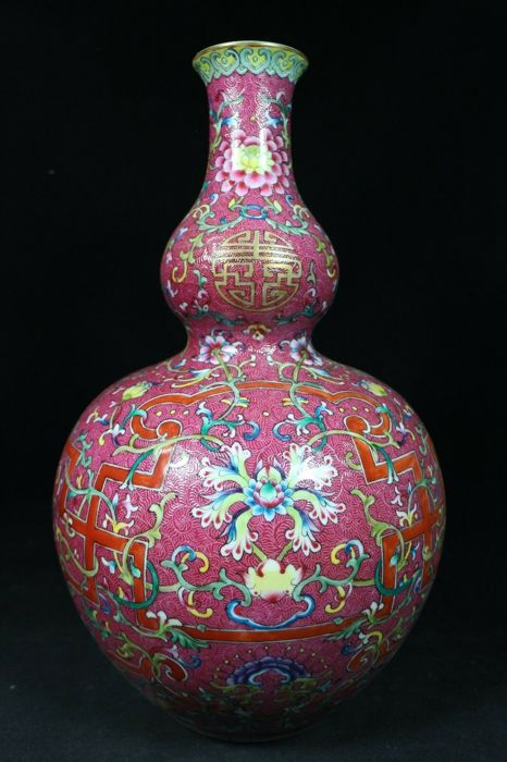 Vase (1) - Porcelain - Large double-gourd vase - China - 21st century