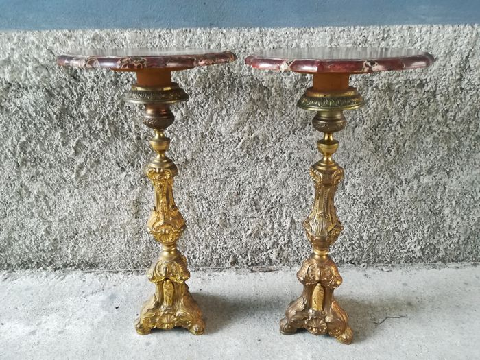Pair of small tables with a twist / candelabra base