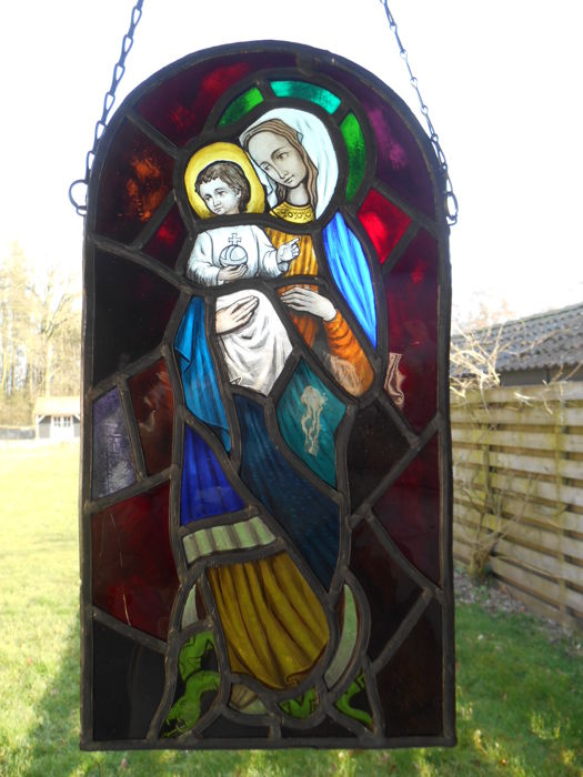 Stained Glass In Lead Window Hanger Madonna With Child - Stained glass