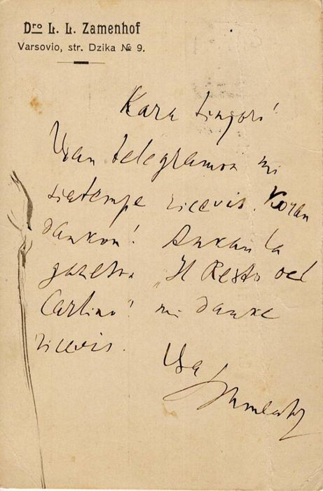 Dr. Ludwik Lejzer Zamenhof Inventor of Esperanto - Autograph; Letter Confirming the Reception of a Telegram, from Varsavia - 1900