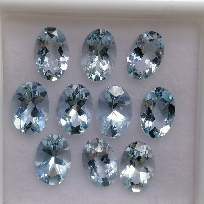 10 pcs  Aquamarin - 4.00 ct