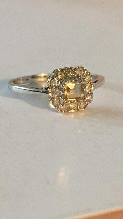 9K Oro blanco - Anillo Citrino - Diamantes