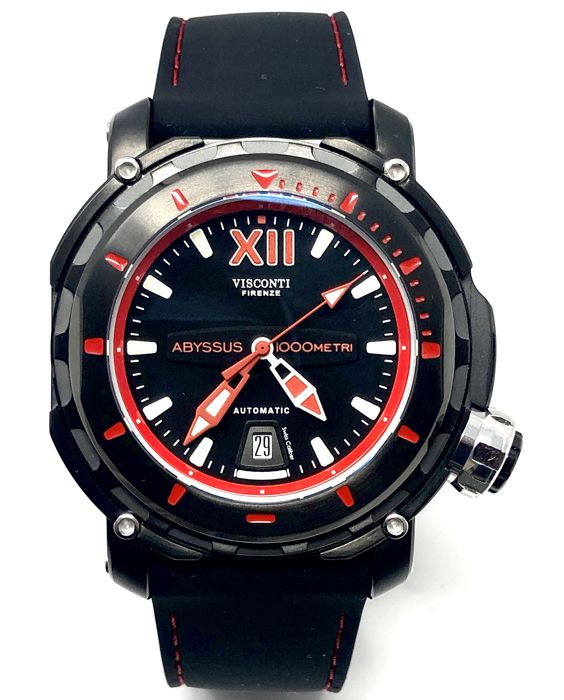 Visconti - Abyssus Full Dive 1000 Black PVD Red - Silicone Strap - KW51-03 - Heren - BRAND NEW