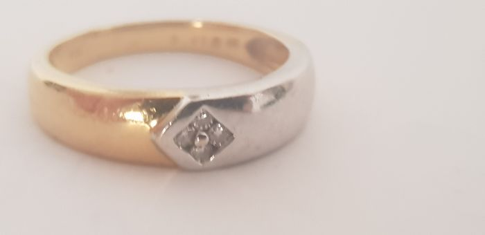18 karaat Tweekleurig - Ring - 0.08 ct Diamant