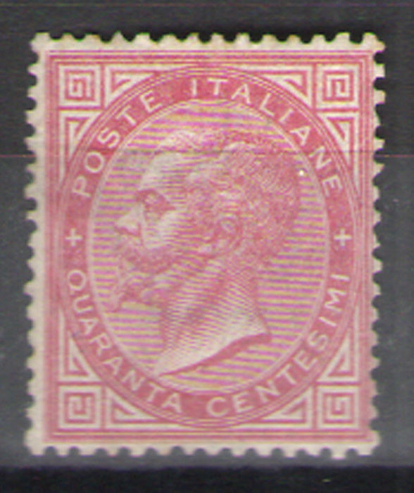 Italy Kingdom 1863 - 40 cents carmine pink, London issue, fair centring - Sassone N. T20