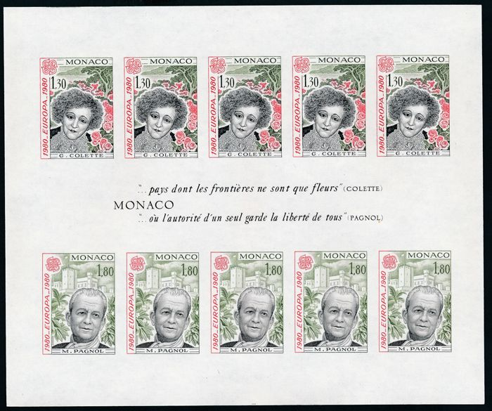 Monaco 1980 - Europe CEPT sheetlet, imperforate (cut) - Yvert No. 18a