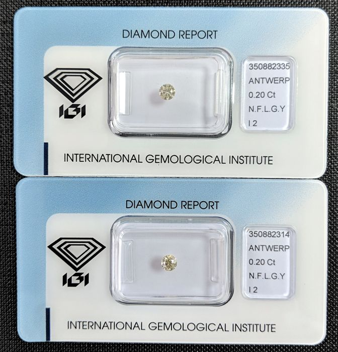 Diamond - 0.40 ct - Brilliant - Fancy Light Greyish Yellow - I2, IGI Antwerp - No Reseve Price