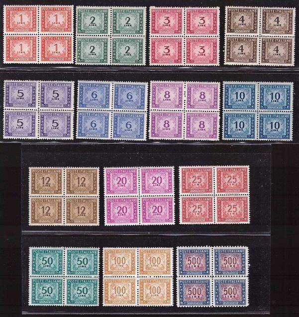 Republiek Italië 1947/1954 - Postage due set winged wheel watermark in block of four - Sassone S. 2312a