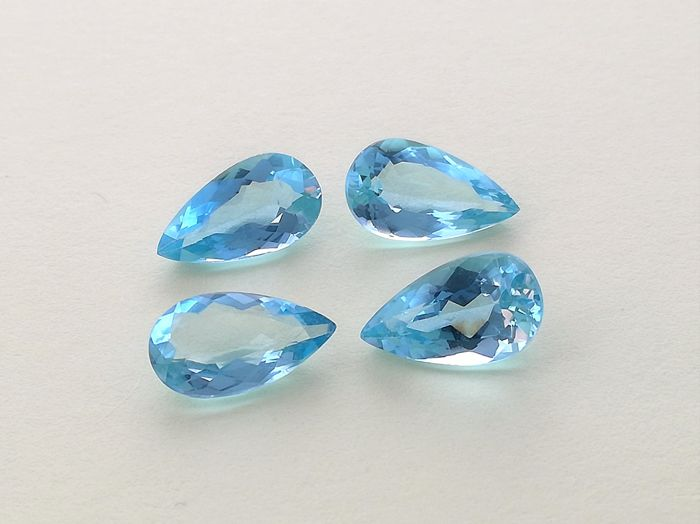 4 pcs  Aquamarine - 4.70 ct