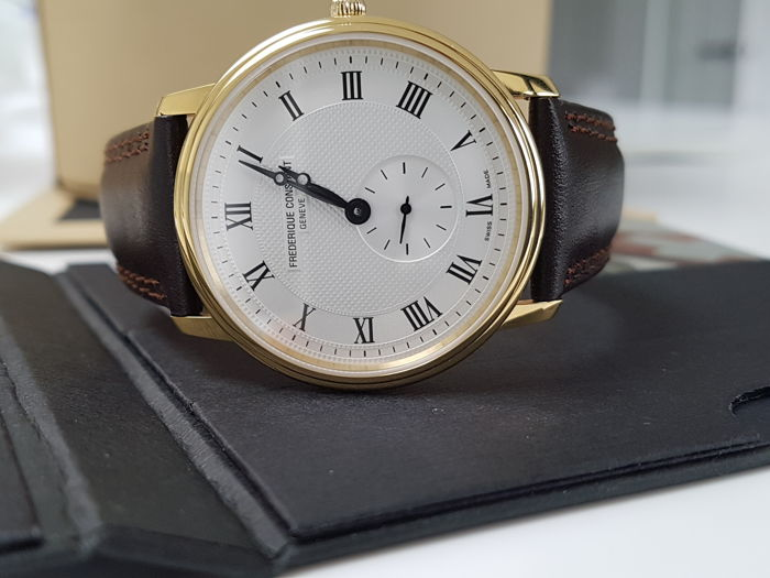 Frédérique Constant - slimline luxury gold plated men watch + 2 free Italian hand made strap - Men - 2011-present