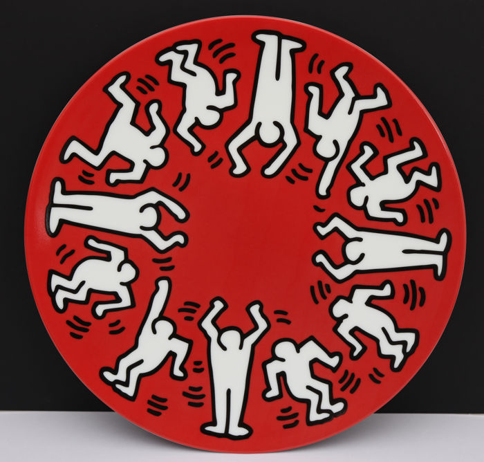 Keith Haring - White on Red