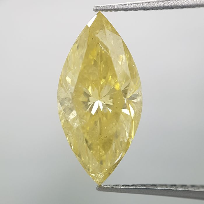 Diamante - 3.15 ct - Marquesita - fancy intens yellow - GIA Colored Certified + Laser Inscription