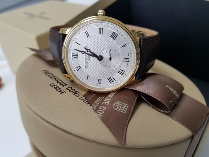 Frédérique Constant - slimline luxury gold plated men watch + 2 free Italian hand made strap - Herren - 2019