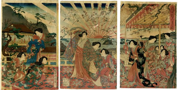 "Original woodblock print, Triptych - Toyohara Yoshu Chikanobu (1838-1912) - ""Hōraikan kōki no asobi"" 蓬莱館高貴の遊 (High Class Games at the Horai Hall) - 1885"