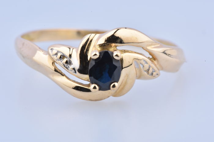 18 kt. Yellow gold - Ring - 0.11 ct Sapphire