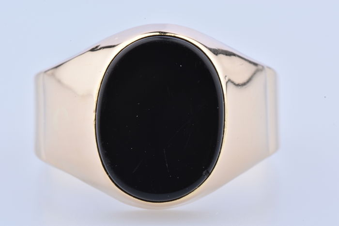 18 kt. Yellow gold - Ring onyx
