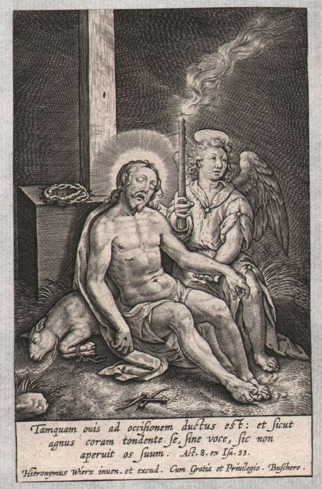 Hieronymus Wierix (1553 - 1619) - Angel lamenting the dead body of Chris