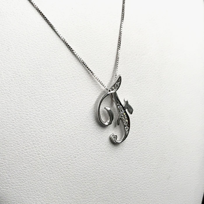 18 kt. White gold - Necklace with pendant - 0.07 ct Diamond