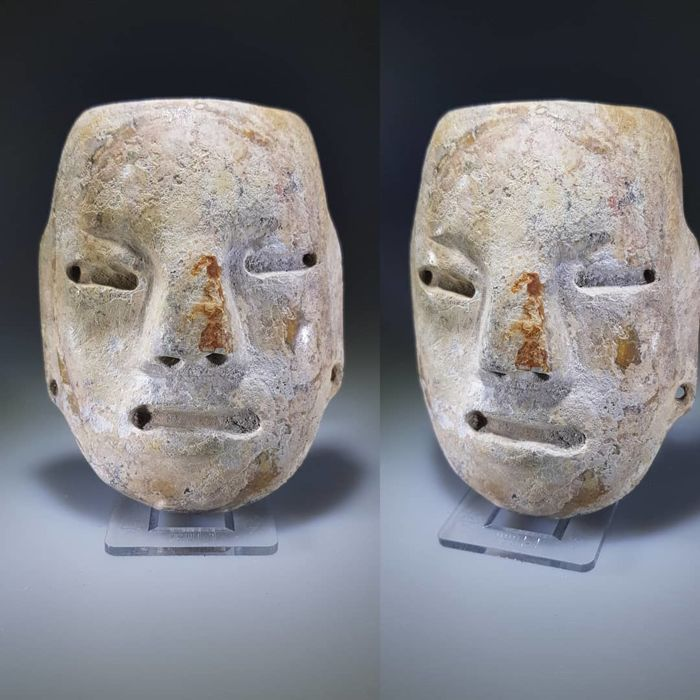 Teotihuacan Alabaster Stone Mask, Circa 450-650 AD - Alabaster - Teotihuacan culture - Mexico