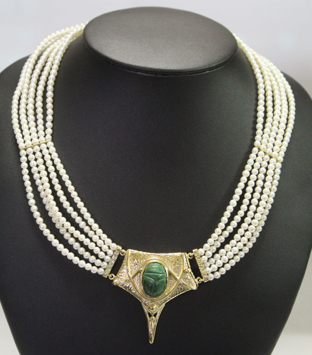 18 kt. Yellow gold - Necklace Japanese Akoya pearls - serpentine