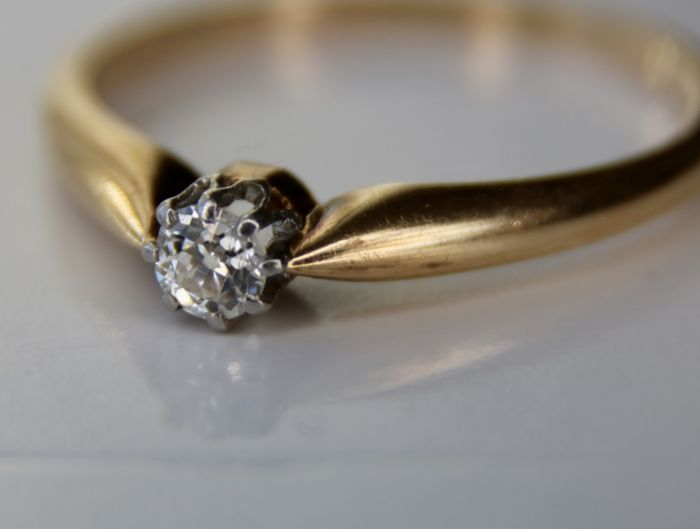 14 kt. Yellow gold - Ring - 0.20 ct Old European cut solitaire Diamond