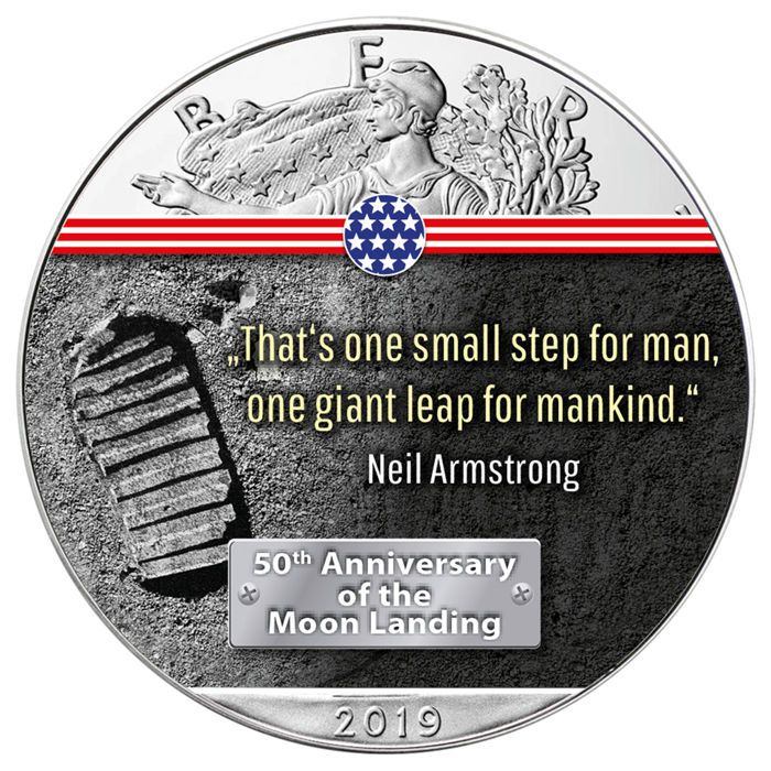 United States - 1 Dollar 2019 - Silver Eagle - First Step on the Moon - 1 oz - Silver