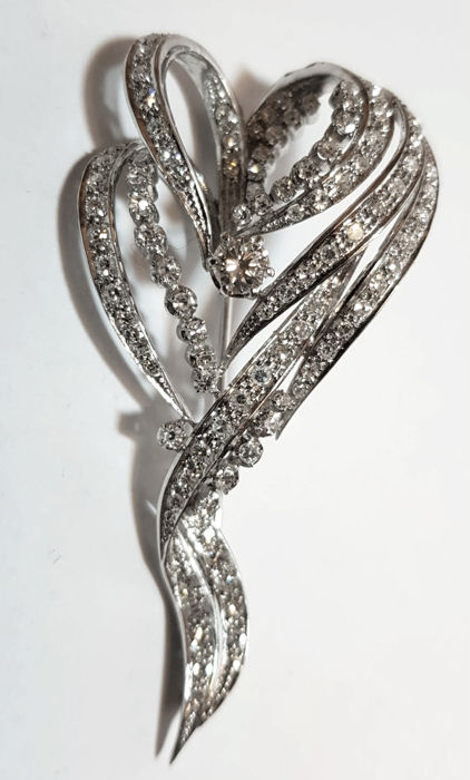 Made in Italy - 1970 - 18 kt. White gold - Brooch - 0.33 ct Diamond - Diamonds