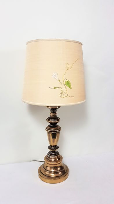 Classic table lamp with fabric shade - Brass