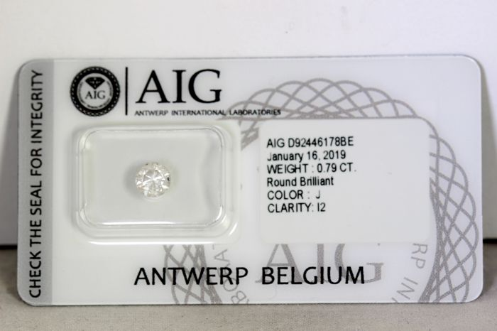 Diamant - 0.79 ct - Briljant - J - P2