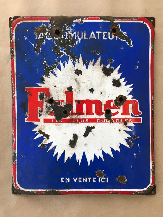 Bewegwijzering - Fulmen Accumulateurs original battery enamel sign - 1950-1980