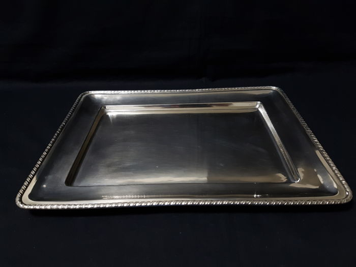 San Marco style silver tray - .800 silver - Italy - mid 20th century Silver & Gold International for sale