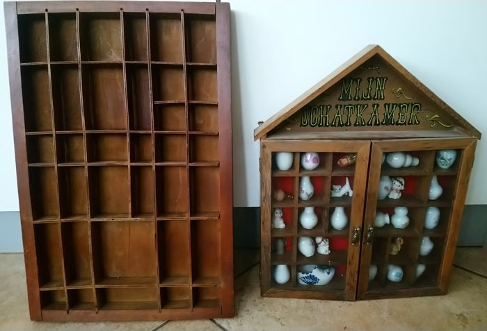 Letter box and compartment with miniatures - Wood Curio Curio for sale