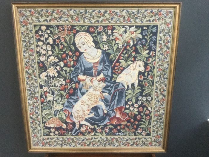 Framed gobelin with pastoral scene - Woven fabric