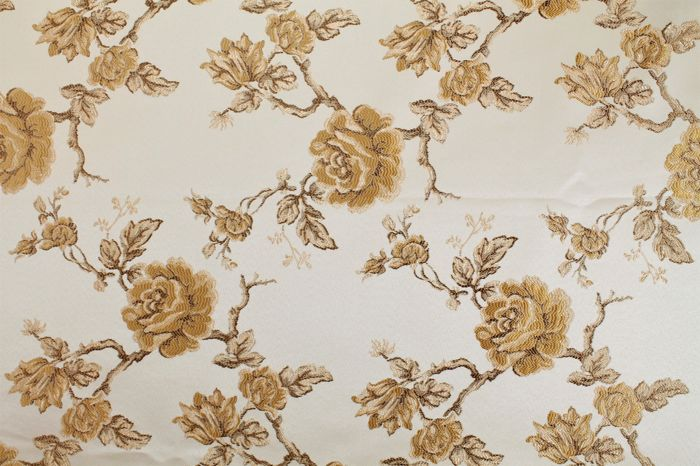 Floral pattern, beige base color with gold flowers - cotton blend - 2018