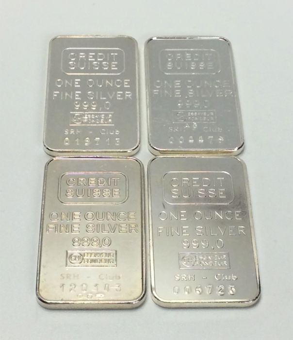 4 x 1 troy ounce (31.1 g) - Zilver .999 - Credit Suisse