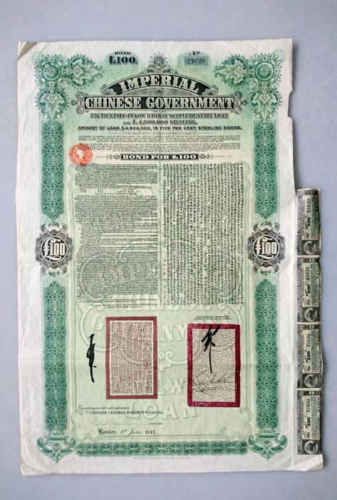 obligatie (1) - Papier - Bond 5% Tientsin-Pukow Railways N# 27620 - China - 1911