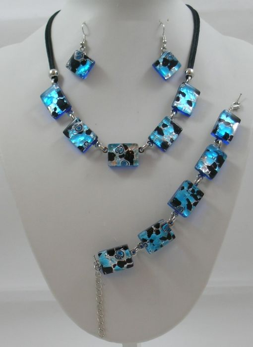 RUBELLI VETRI D'ARTE S.R.L. - Necklace, bracelet, earrings, silver leaf glass - Murano glass and 925/1000 silver leaf