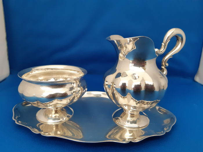 Sugar and cream set (3) - .925 silver - Otto Wolter - Germany