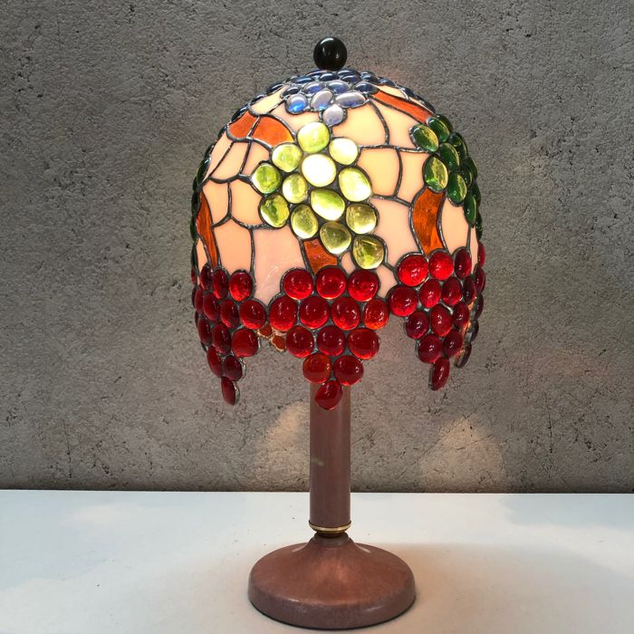 Tiffany Style Table Lamp Grapes 1 Glass Stained Glass Catawiki